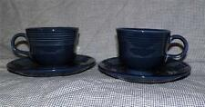 Homer Laughlin FIESTA WARE Colorama COBALT BLUE (2) Cups (2) Saucers 8 oz. NWOB