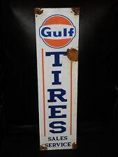 Antique style-porcelain look Gulf dealer oil tires dealer gas pump sign NICE