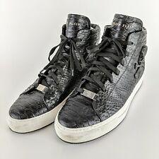 PHILIPP PLEIN Black Italian Snake Skin Skull High Top Sneakers Size 44