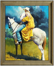 Oleg Stavrowsky Original Oil Painting On Board Signed Western Cowboy Horse Art