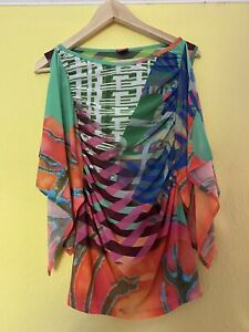 SAVE THE QUEEN MULTI COLOURED PRINT FLOATY SHOULDER SLEEVE STRAPS TOP SIZE L