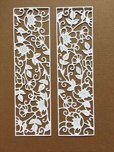 5 Decorative Floral Die Cut Panels White 13.5 X 4 Cm