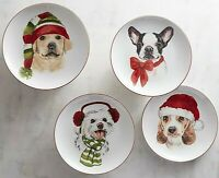 4x Pier 1 Christmas Puppies Salad Lunch Dessert Plates Porcelain in Gift Box 8""