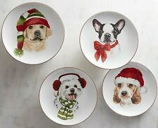 """4x Pier 1 Christmas Puppies Salad Lunch Dessert Plates Porcelain in Gift Box 8"""""""