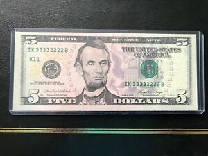 2006  $5 FANCY NUMBERS 33332222 DOUBLE QUAD SET GEM UNC RARE-ONLY ONE