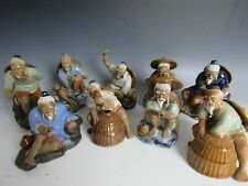 9 Chinese fisherman working team Porcelain  Statue laughing figures