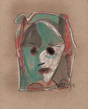 ABSTRAIT VISAGE dans le style de Picasso Pastel Dessin 2013 indistinctes signature