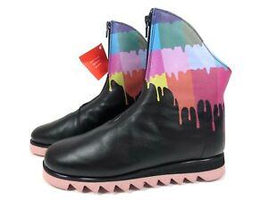 CLAMP Finch weiche Leder Schuhe Boots Stiefeletten schwarz rosa Farbe NEU 149,95