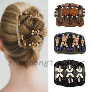 Women Hair Comb Easy Butterfly Accessories Gifts Clip Stretchy Double Bead Wood