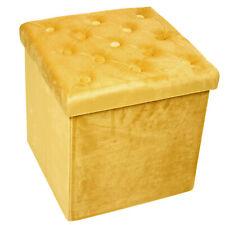 Yellow Velvet Folding Storage Box Cushion Foot Stool Ottoman Pouffe Button Seat