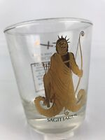 Vintage Sagittarius Glass Astrology Horoscope Zodiac Sign Gold Accents