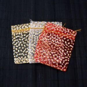 20 X CHRISTMAS STAR ORGANZA BAGS MEDIUM 9CM X 12CM / RED, WHITE,GOLD
