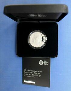 "2015 Silver Piedfort Proof £5 coin ""Churchill Anniversary"" in Case with COA"