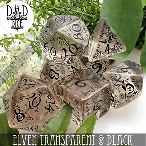 Elven Transparent & Black Dungeons and Dragons Dice Set | DND DICE | Q-Workshop