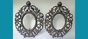 """Pair metal (bronze?) Baroque Pckture Frame 10 ¾ x 8 ½"""" (c 4 ¾ x 3 ¾"""" in) signed"""