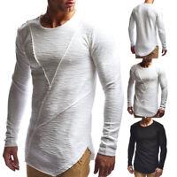 Fashion Men's Casual Long Sleeve Shirts Solid Slim Fit Shirt Tops Blouse T-Shirt