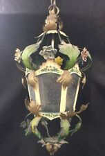 Antique Tole Painted Venetian Etched Glass Hall Lantern Chandelier Italian