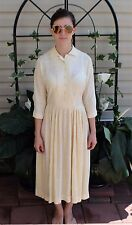 Vintage 40's 50's Ivory White Knit Pleated Rockabilly Swing Dress Size Small