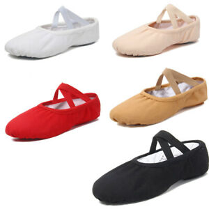 Children Adult Ballet Dance Shoes Canvas Split Sole Pointe Slippers Elastic