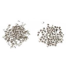 100 x Bolzen Nieten Farbe Silber Fuer Schuhe Huete 9mm DK B2Y1