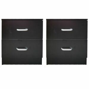 PAIR of Bedside Tables Cabinet Nightstand Chest of 2 Drawers Black Side Redstone