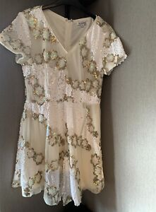 Glamorous White Sequin Playsuit Size 10 Festival Outfit Party Summer