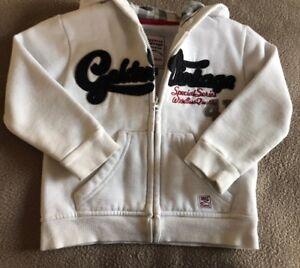 Mayoral Age 2 Years Vintage Casual Wear White & Navy Zip Up Hoodie