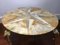 Antique Style French Brass Ormolu Marble Onyx Starbust Occasional Coffee Table