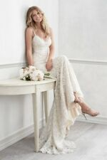 Watters Wtoo Elise lace backless wedding dress with scalloped detail and train