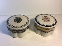Vintage Pair Maitland Smith Porcelain Trinket Boxes, 1 is Chateau de Versailles