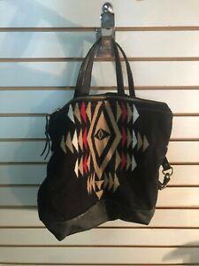 Meant Mfg. Handmade Black Leather & Pendleton Wool Convertible Bag