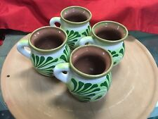 Traditional Mexican Red Clay Coffee Mugs Set of 4 (Green)