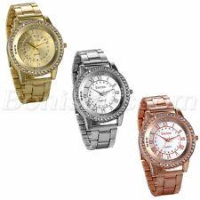 Men's Luxury Rhinestone Roman Numberals Stainless Steel Band Quartz Wrist Watch