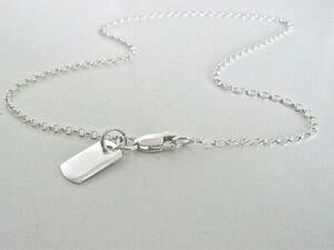 Sterling Silver Anklet, Dog Tag Ankle Bracelet, Belcher Ankle Chain with Charm