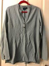 EMS Eastern Mountain Sports Steel Blue Crinkle Tunic Blouse Shirt Top Women's XL