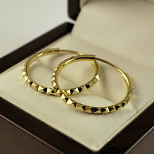 14ct Yellow Gold Filled Diamond Cut 25mm Endless Hoop Earrings Gift Idea UK -431