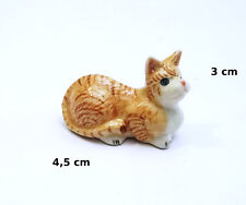 chat roux, miniature en porcelaine,collection,décoration,animal, cat,poes  S3-7