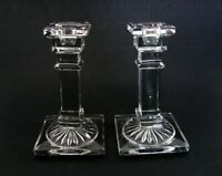 Art Deco Style Pair of Elegant Glass Candlesticks Candle Holders ca.1930s 5 1/2""