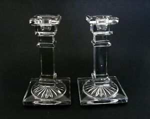 """Art Deco Style Pair of Elegant Glass Candlesticks Candle Holders ca.1930s 5 1/2"""""""