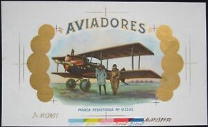 Amelia Earhart Printer's Proof Cigar Box Label, 'AVIADORES' - Pioneer Aviation