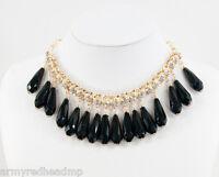 Amrita Singh Gold Black Milly Crystal Courtney Friel Bib Necklace NKC 700  NWT