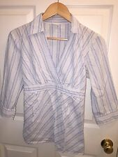 USED MOTHERHOOD MATERNITY LARGE L SHIRT BLUE STRIPED CAREER WEAR
