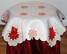 CELESTA SMALL SQUARE CREAM TABLE CLOTH APPLIQUE RED COLOURED CANDLES IN CORNERS