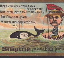 Teddy Roosevelt as Prince of Whales 1800's Soapine Soap Advertising Trade Card