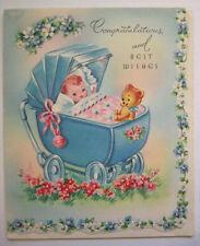 Vintage New baby Pram Buggy carriage unused greeting card  *U