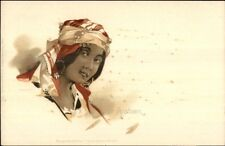 Beautiful Arab Arabian Woman Head Scarf Earrings c1900 Postcard