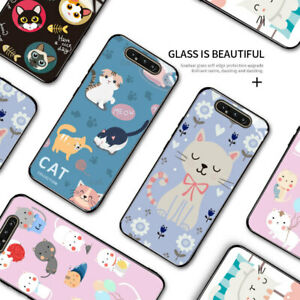 Phone Case For SamsungA51 S10 Note10+ Cartoon Cat Pet Kitty Tempered Glass Cover