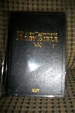 "King James Version New Testament Bible Black Pocket Purse Size 5""x3"" Gold Edges"