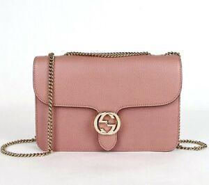 Gucci Soft Pink Leather Interlocking G Large Crossbody Chain Bag 510303 5806