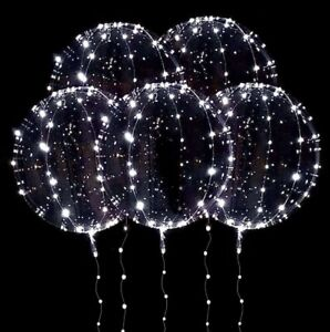 Set Of 5 Transparent White LED Light Up Balloons + PUMP